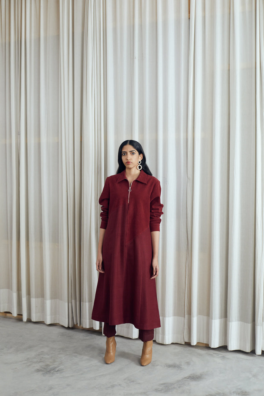 Assymteric Panel Wool Dress