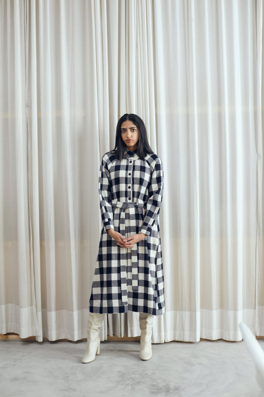 Wool Gingham Dress