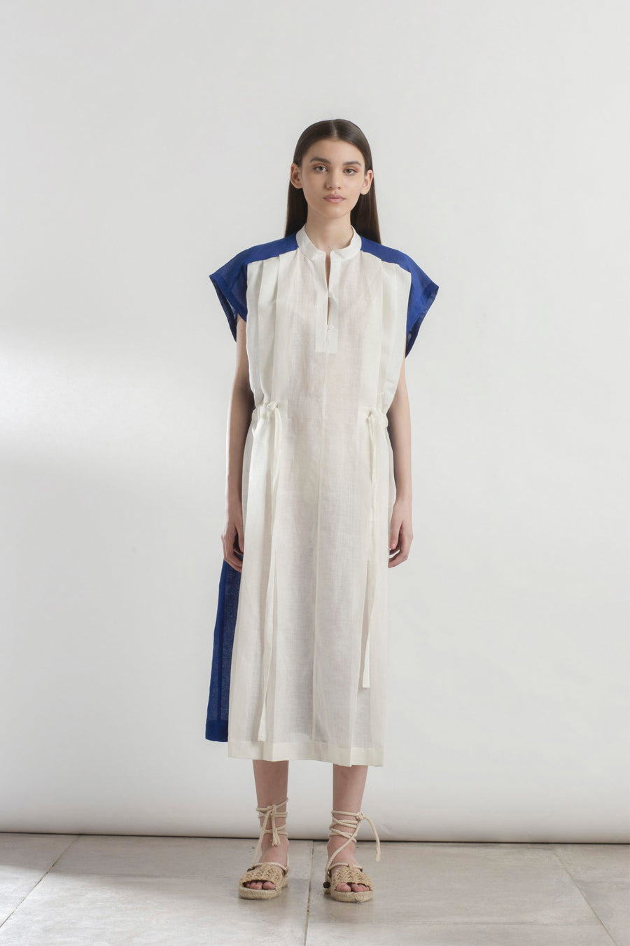 Colour Blocked Linen Dress
