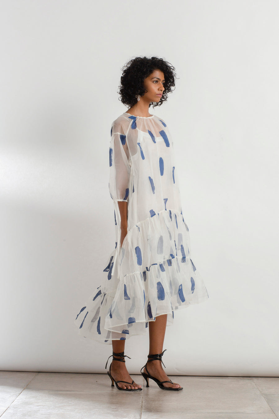 Brushstroke Organza Tier Dress