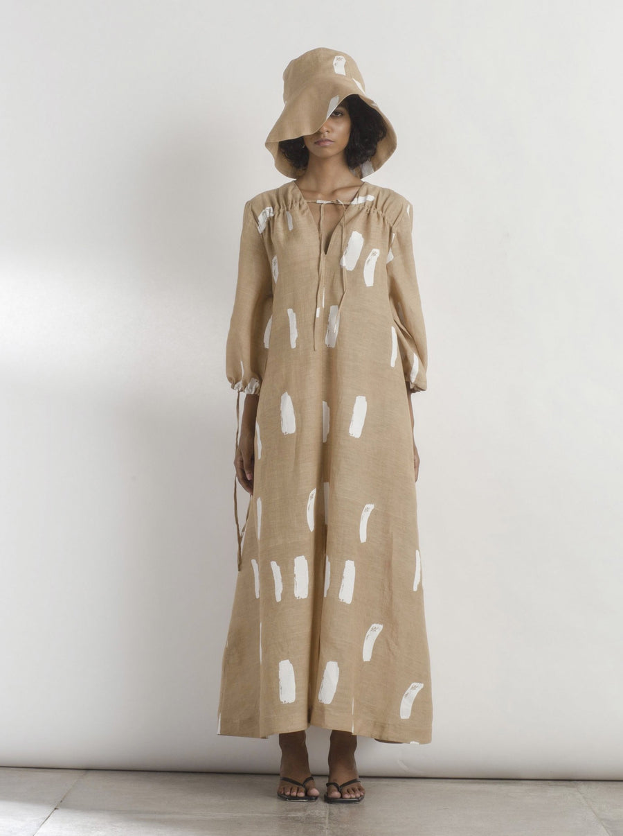 Recline Linen Brushstroke Dress