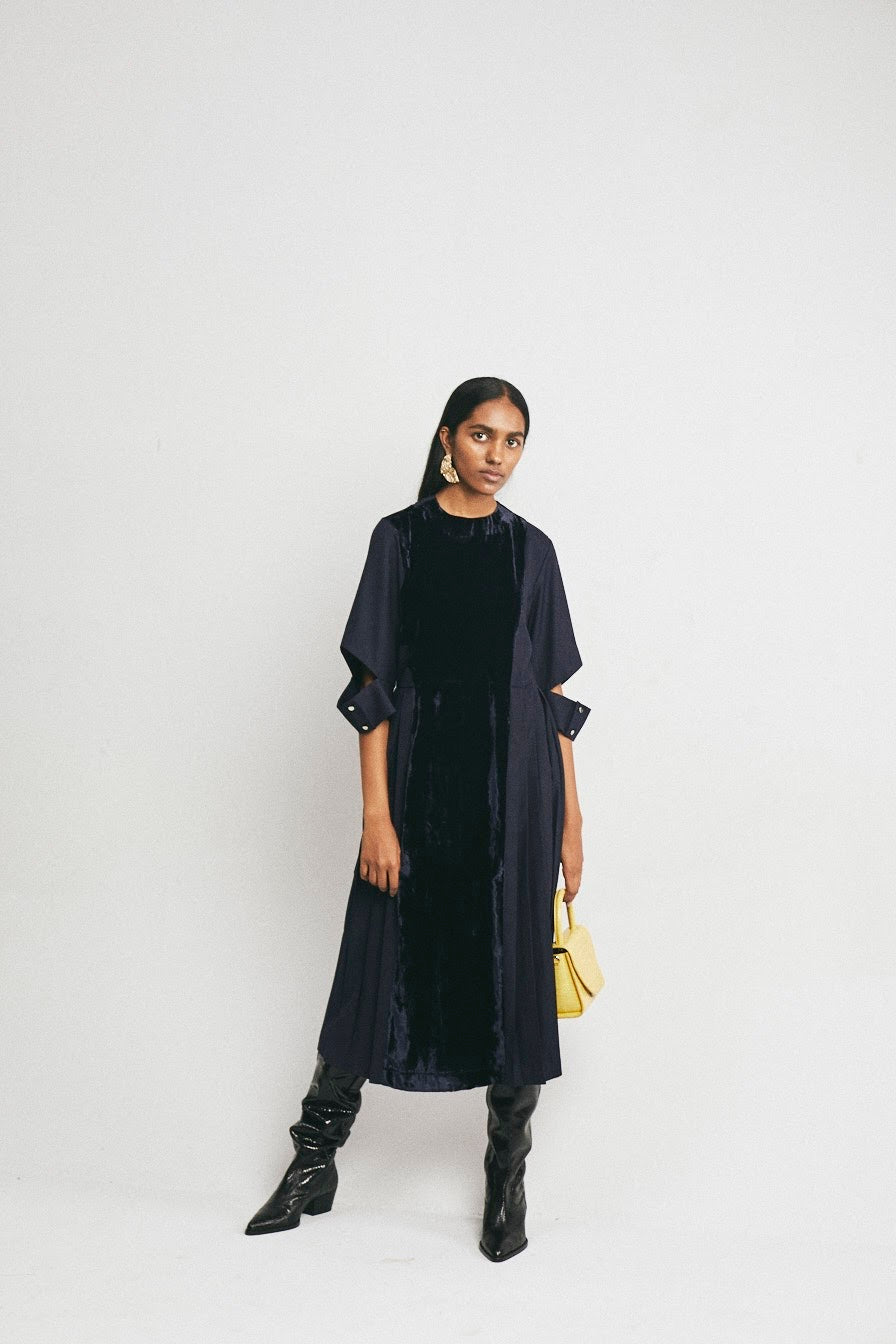 Velvet Panel Dress - Midnight