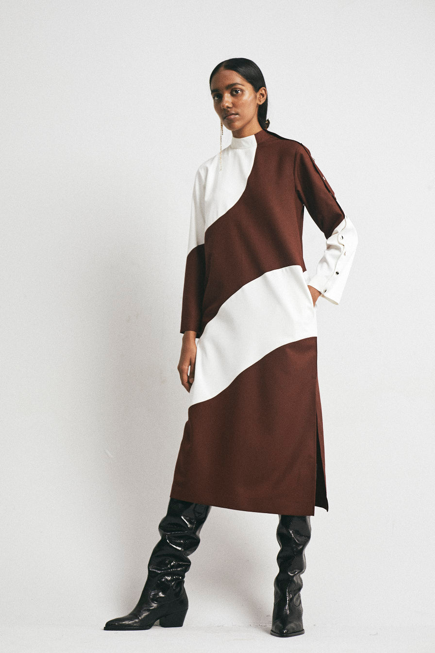 Wave Panel Straight Dress