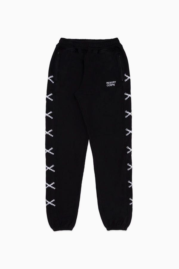 Black Chain Cross Track Pants