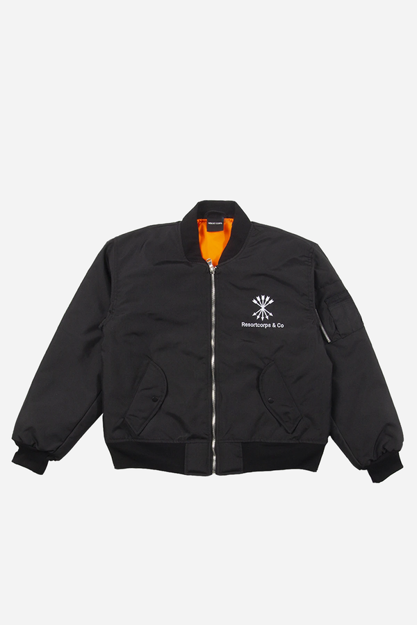 Black Big Banking Bomber Jacket