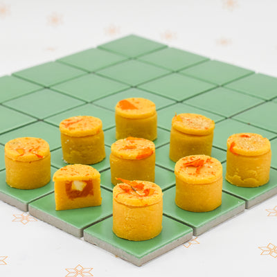 Burfi filled with mango jam