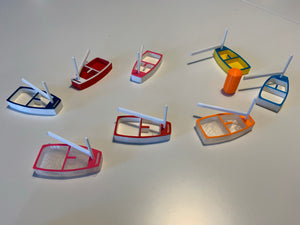 Opti Coach Kit with 8 Boats in Different Colours and 4 Buoys with embedded magnets