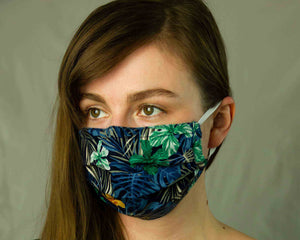 girl wears uk reusable cotton face mask