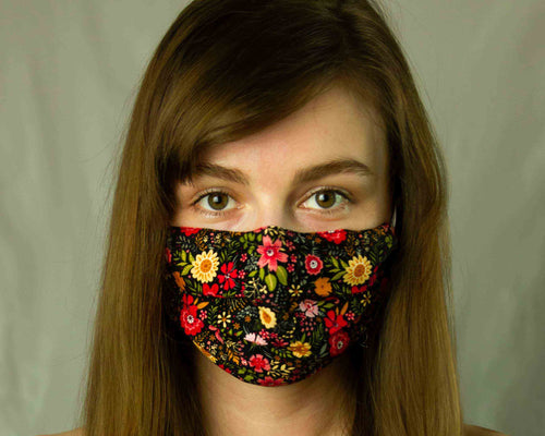 girl with reusable filter mask with flowers