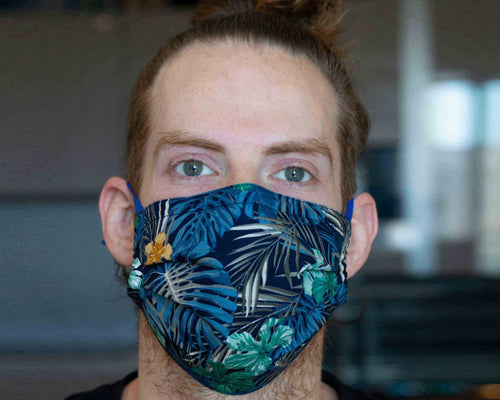 man with blue leaves washable face mask