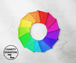 rainbow fabric face mask charity profit donation