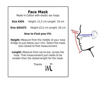 Load image into Gallery viewer, size guideline face mask for adults and kids