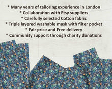 Load image into Gallery viewer, uk cotton face mask blue fabric