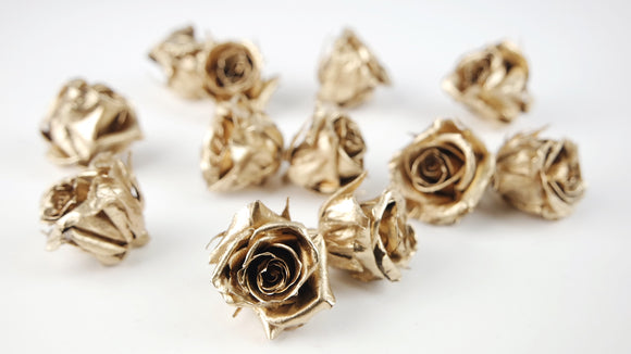 Stabilised roses 3 cm - 12 rose heads - Gold