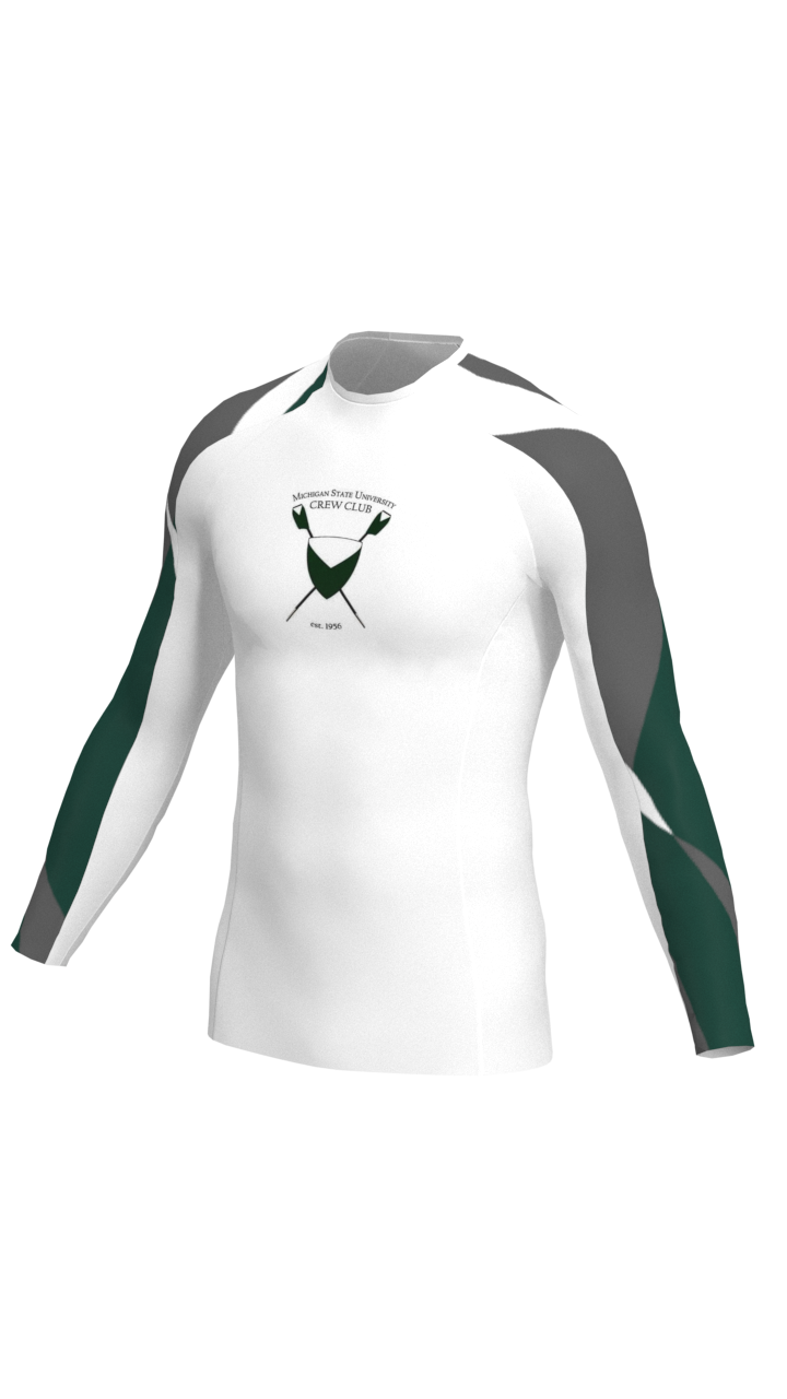 Michigan State Mens White Long Sleeve Baselayer