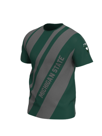 Michigan State Mens Short Sleeve Stripe Tech Shirt