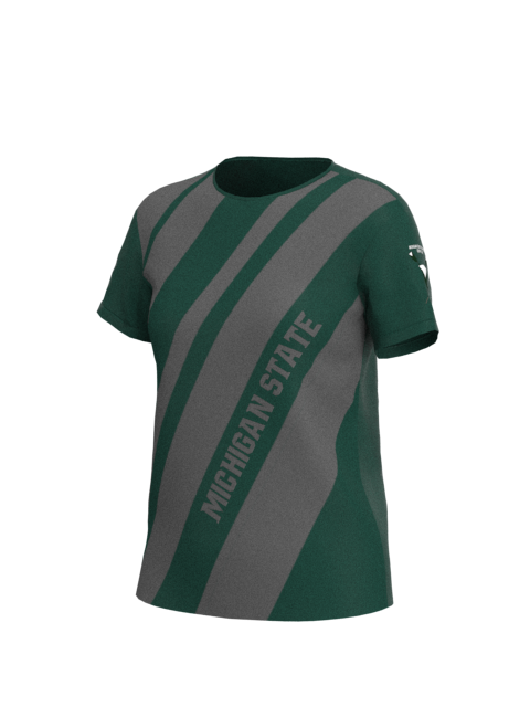 Michigan State Womens Short Sleeve Stripe Tech Shirt