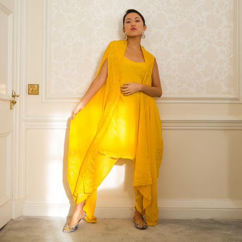 ARIANA - Mango Yellow Dhoti Dress Set with Cape