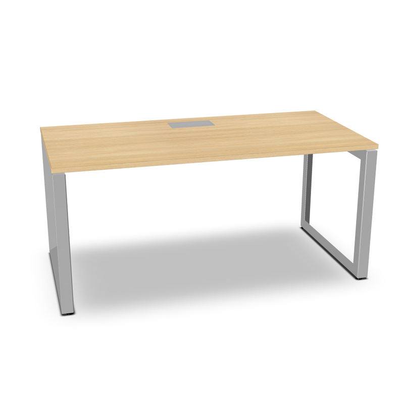 Table de bureau rectangulaire 4Most L. 160 x P. 80 cm sur pieds frame fixes triangulaires - trappe L. 240 x P. 120 mm avec système de soft closing finition assortie (4841736765577)