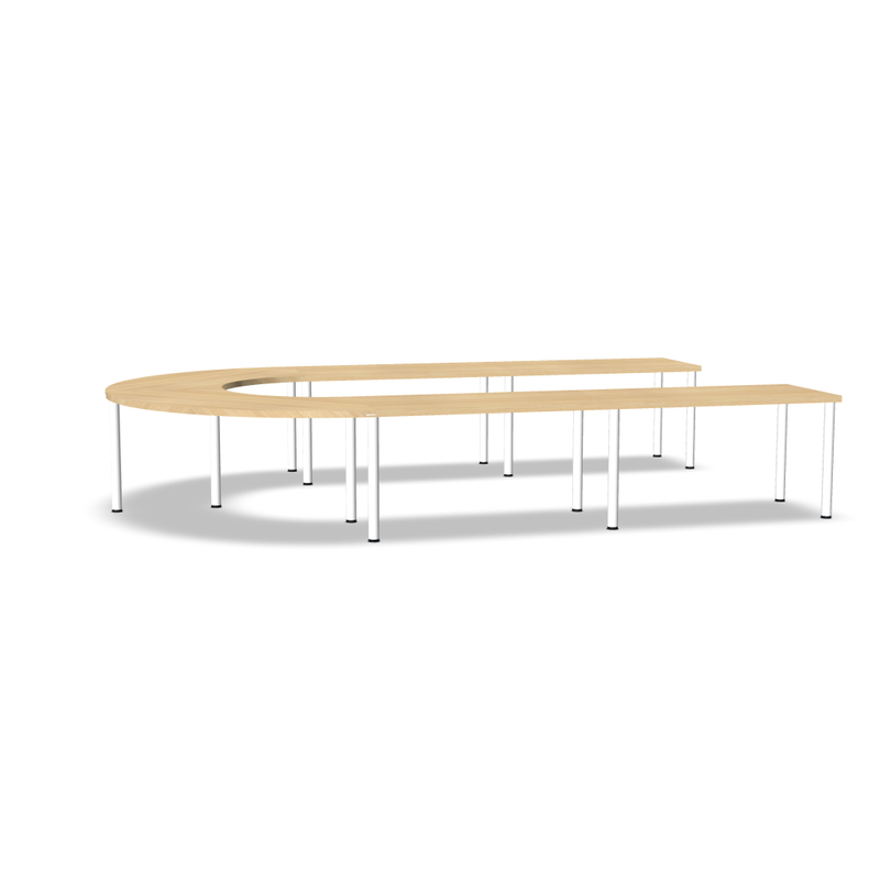 Modulo table U Ep 38mm pieds métal rond 14 Pers (4845490798729)
