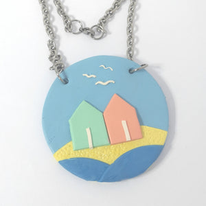 Pastel Beach Hut Necklace