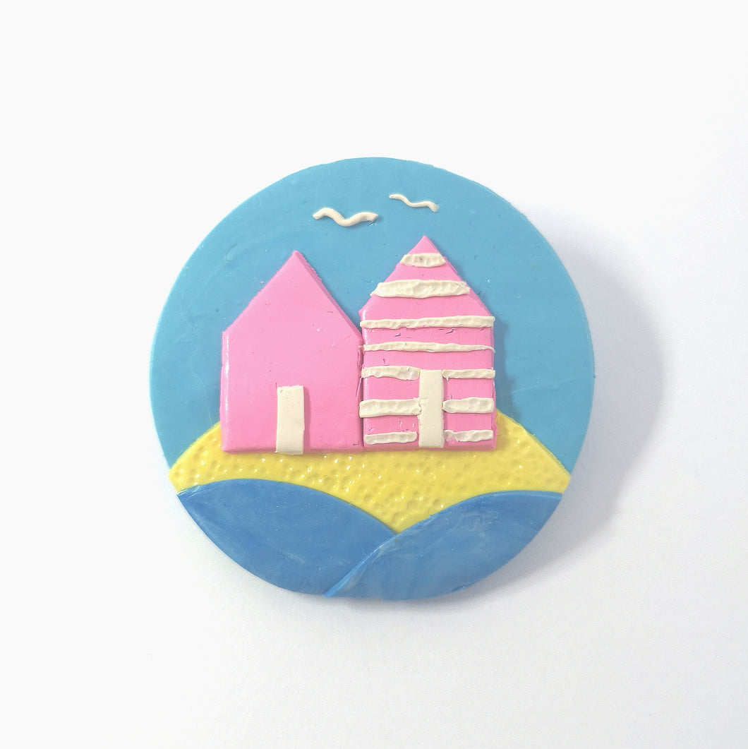 Pastel Beach Hut Brooch