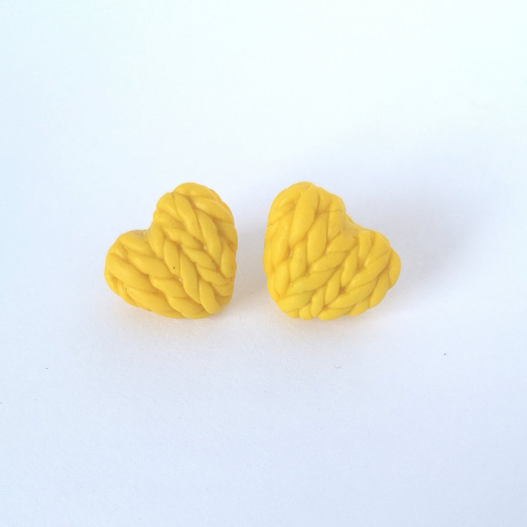 Buttercup Knitted Hearts Earrings