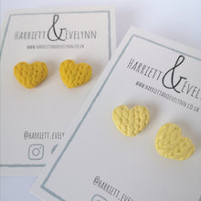 Load image into Gallery viewer, Yellow Knitted Hearts Stud Earring Set