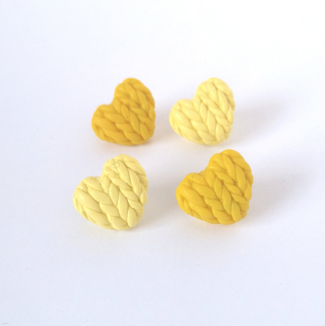 Yellow Knitted Hearts Stud Earring Set