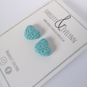 Forget Me Not Knitted Hearts Stud Earrings