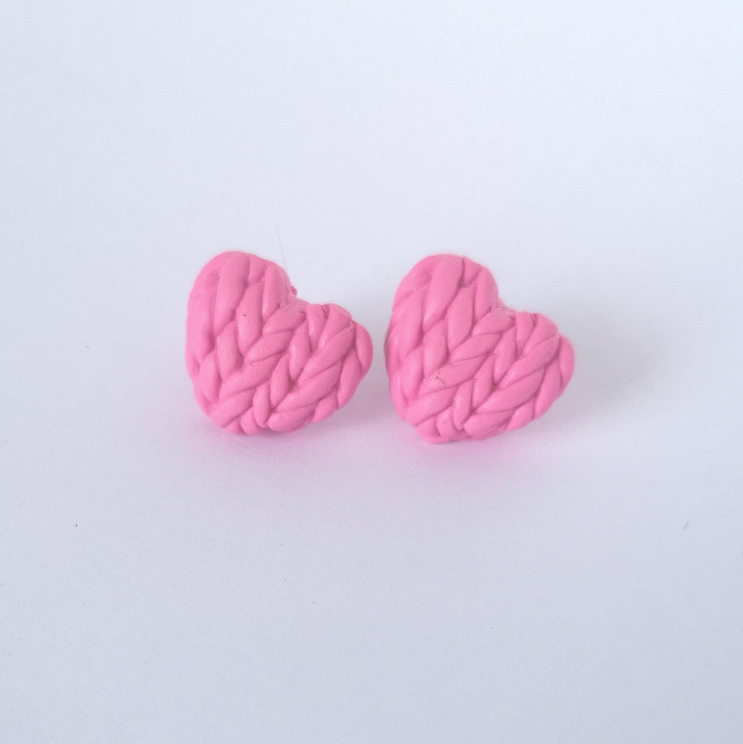 Honeysuckle Knitted Hearts Earrings