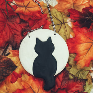 Extra Large Black Cat Against The Moon Necklace