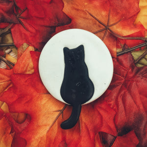 Black Cat Against The Moon Brooch