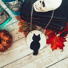 Load image into Gallery viewer, Extra Large Black Cat Against The Moon Necklace