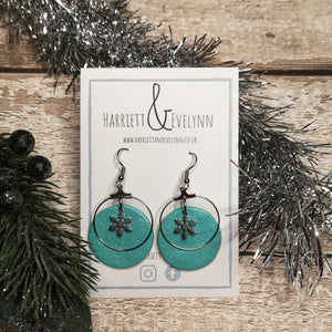 Large Round Snowflake Drop Earrings