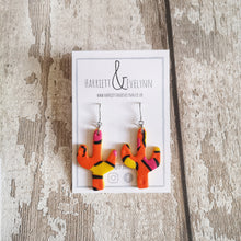 Load image into Gallery viewer, Orange Leopard Print Cactus Drop Earrings