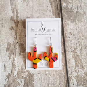 Orange Leopard Print Cactus Drop Earrings