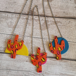 Orange Leopard Print Cactus Necklace