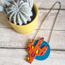 Load image into Gallery viewer, Orange Leopard Print Cactus Necklace
