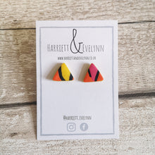 Load image into Gallery viewer, Orange Leopard Print Triangle Stud Earrings