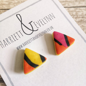 Orange Leopard Print Triangle Stud Earrings