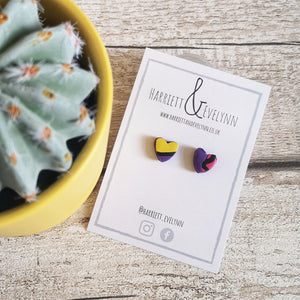 Purple Leopard Print Heart Stud Earrings