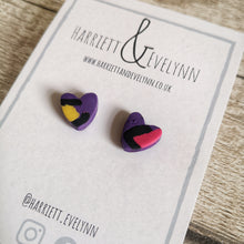 Load image into Gallery viewer, Purple Leopard Print Heart Stud Earrings