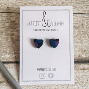 Blue Leopard Print Heart Stud Earrings