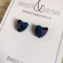 Load image into Gallery viewer, Blue Leopard Print Heart Stud Earrings