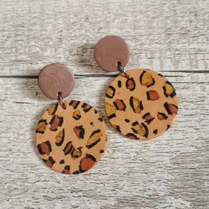 Large Leopard Print Drop Earrings
