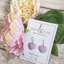 Load image into Gallery viewer, Lilac Knitted Heart Drop Earrings