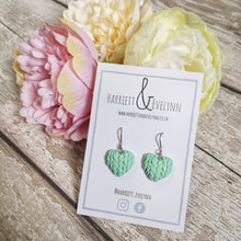 Load image into Gallery viewer, Mint Knitted Heart Drop Earrings