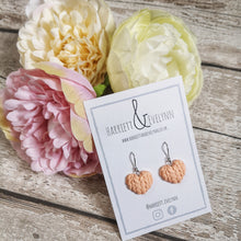 Load image into Gallery viewer, Peach Knitted Hearts Drop Earrings