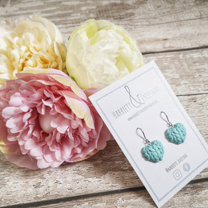 Forget Me Not Knitted Heart Drop Earrings